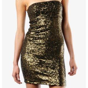 Alice & Olivia Bronze Sequin Mini Dress 0